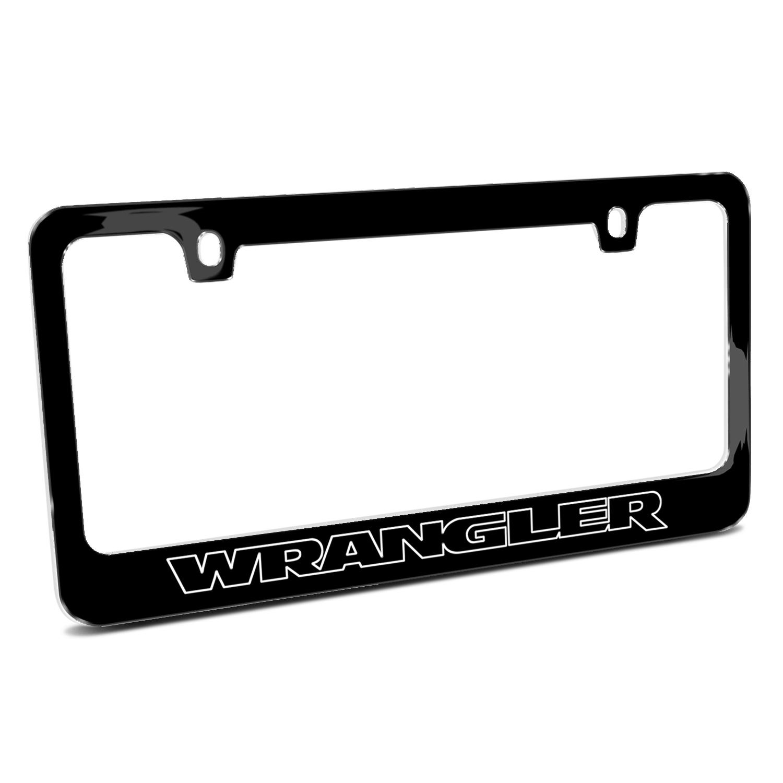 Jeep Wrangler Outline Black Metal License Plate Frame