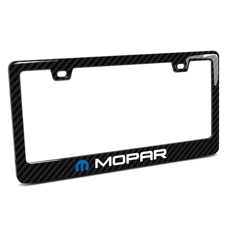 Mopar Black Real 3K Carbon Fiber Finish ABS Plastic License Plate Frame