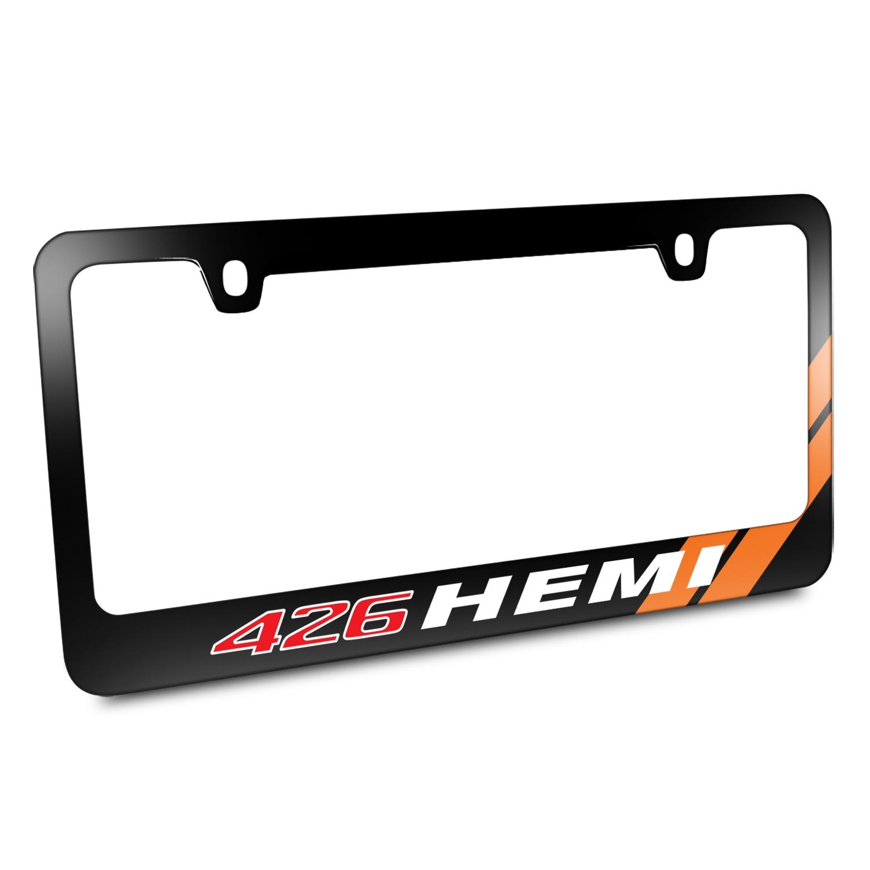 426 HEMI Orange Stripe Black Metal License Plate Frame