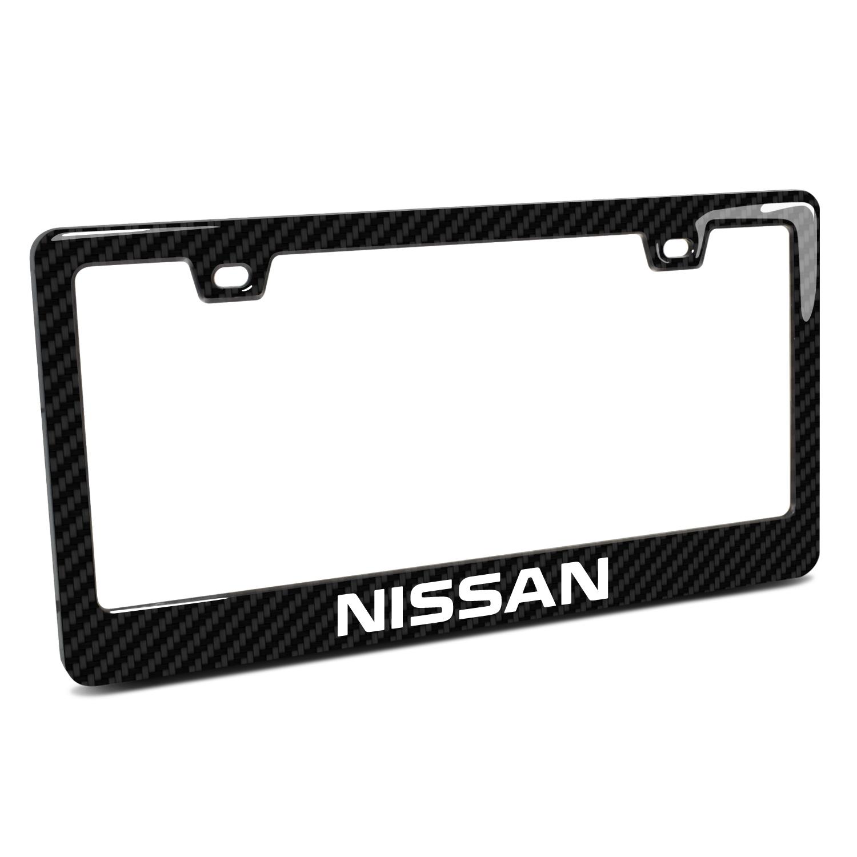 Nissan Name Black Real 3K Carbon Fiber Finish ABS Plastic License Plate Frame