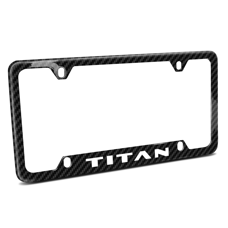 Nissan Titan 4 Holes Black Real Carbon Fiber 50 States License Plate Frame