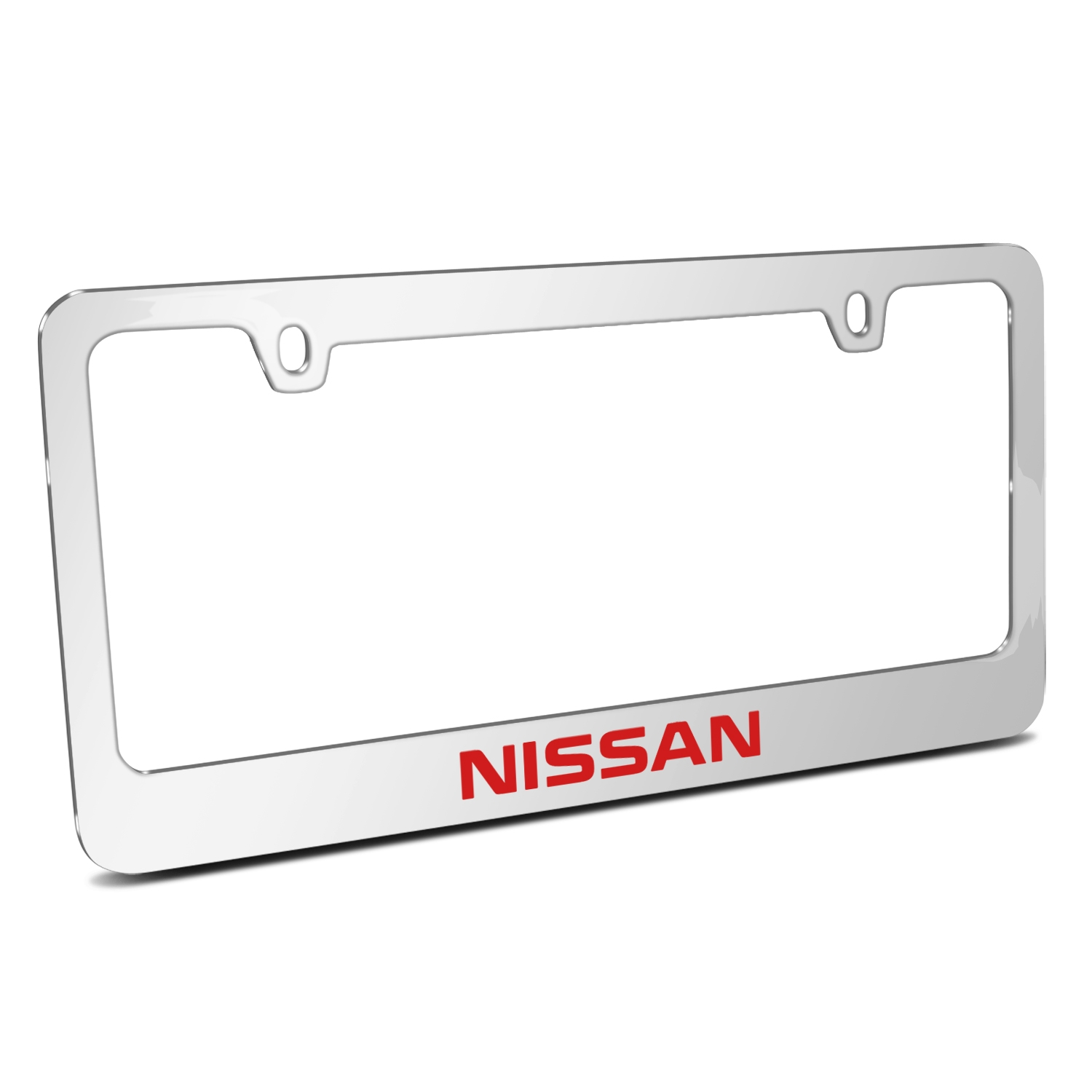 Nissan in Red Mirror Chrome Metal License Plate Frame