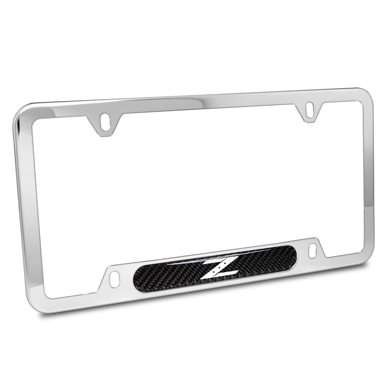 Nissan 350Z Z Logo Real Carbon Fiber Nameplate Chrome Stainless Steel License Plate Frame
