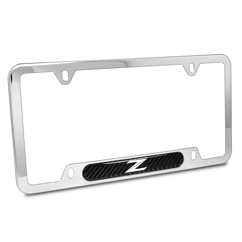 Nissan 370Z Z Logo Real Carbon Fiber Nameplate Chrome Stainless Steel License Plate Frame