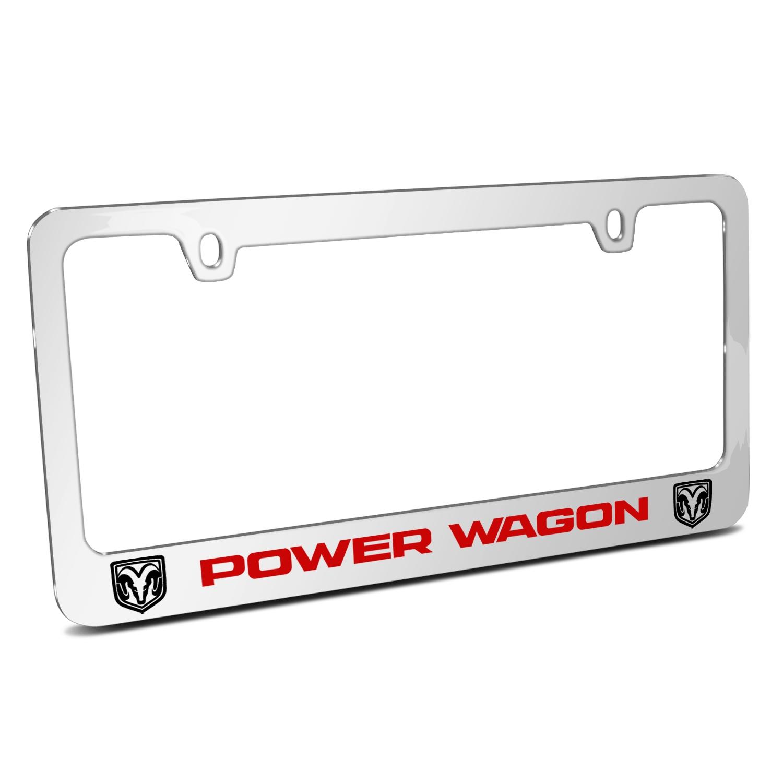 RAM Power Wagon Dual Logos Mirror Chrome Metal License Plate Frame
