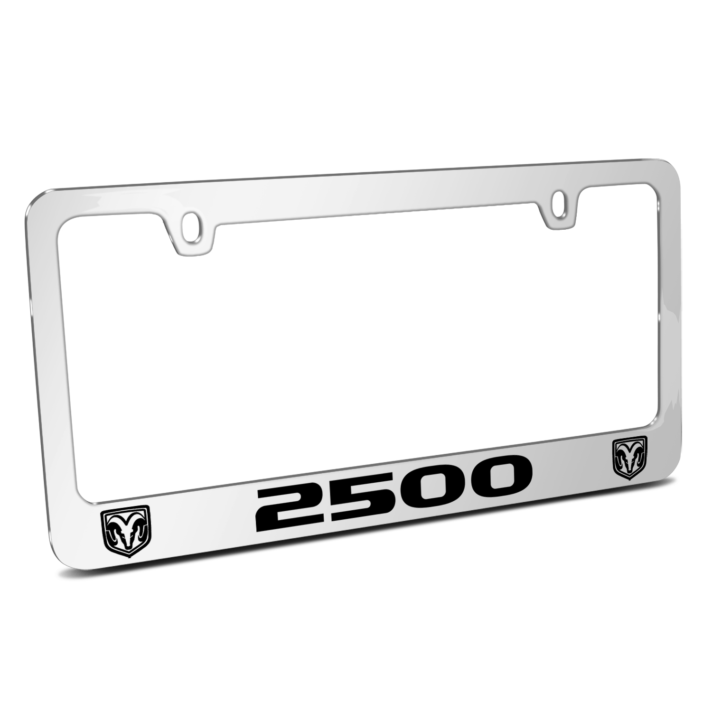 RAM 2500 Dual Logos Mirror Chrome Metal License Plate Frame