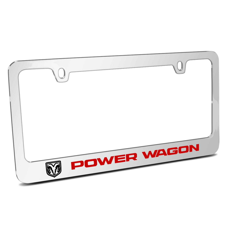 RAM Power Wagon Mirror Chrome Metal License Plate Frame