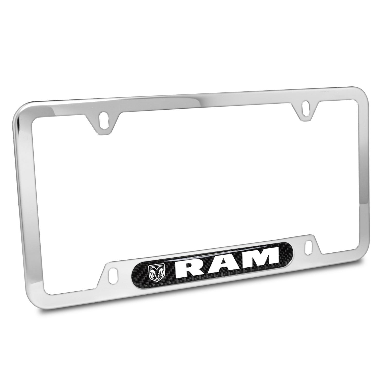 RAM Real Carbon Fiber Nameplate Chrome Stainless Steel License Plate Frame
