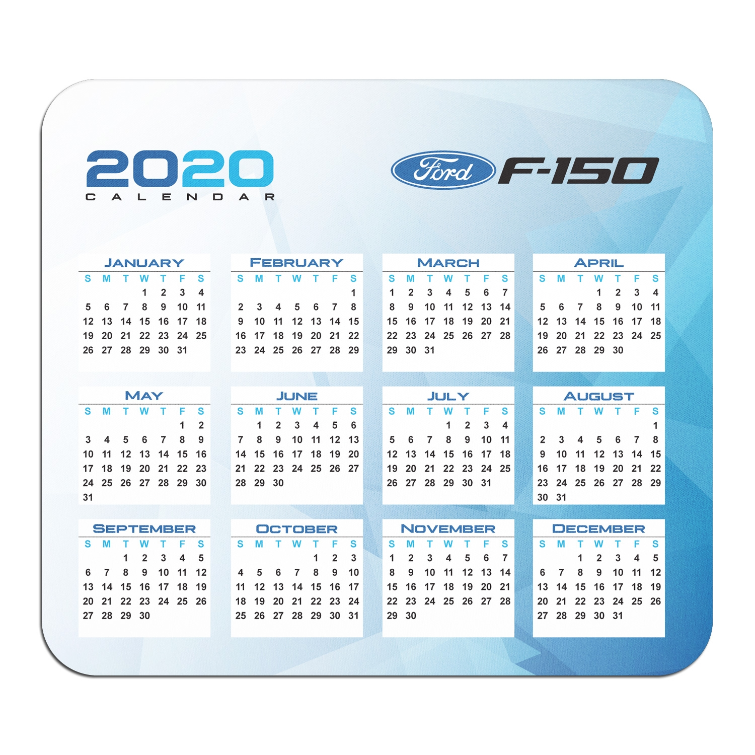 Ford F-150 Year Calendar Graphic PC Mouse Pad