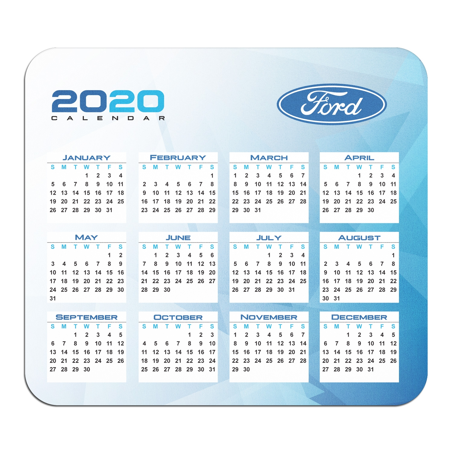 Ford Logo Year Calendar Graphic PC Mouse Pad