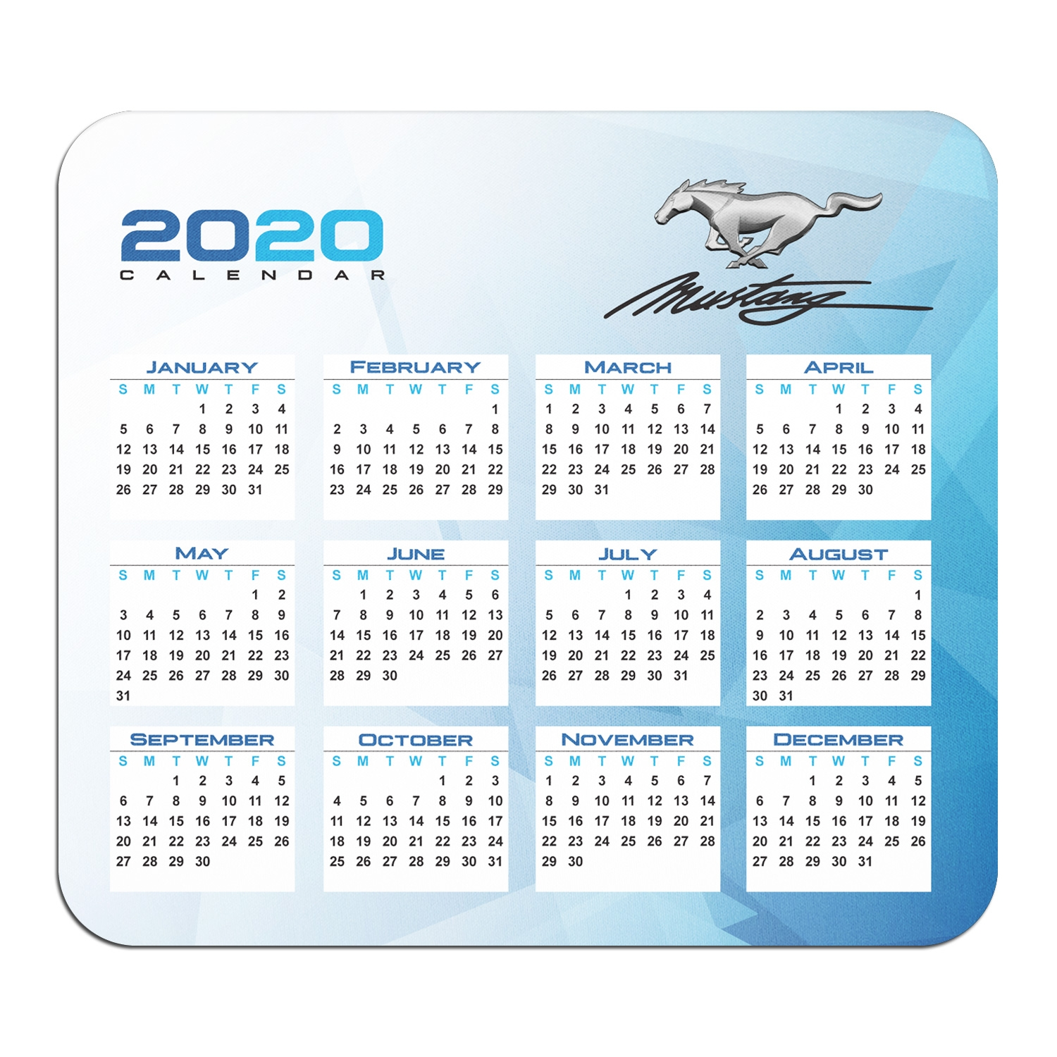 Ford Mustang Script Year Calendar Graphic PC Mouse Pad