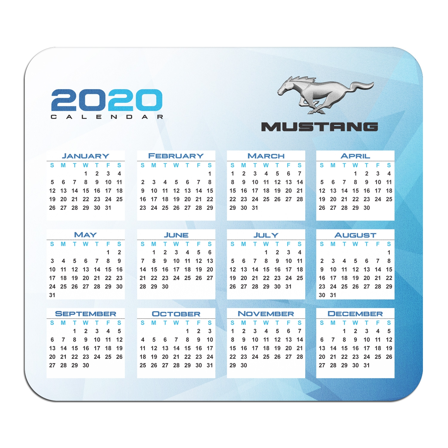 Ford Mustang Year Calendar Graphic PC Mouse Pad