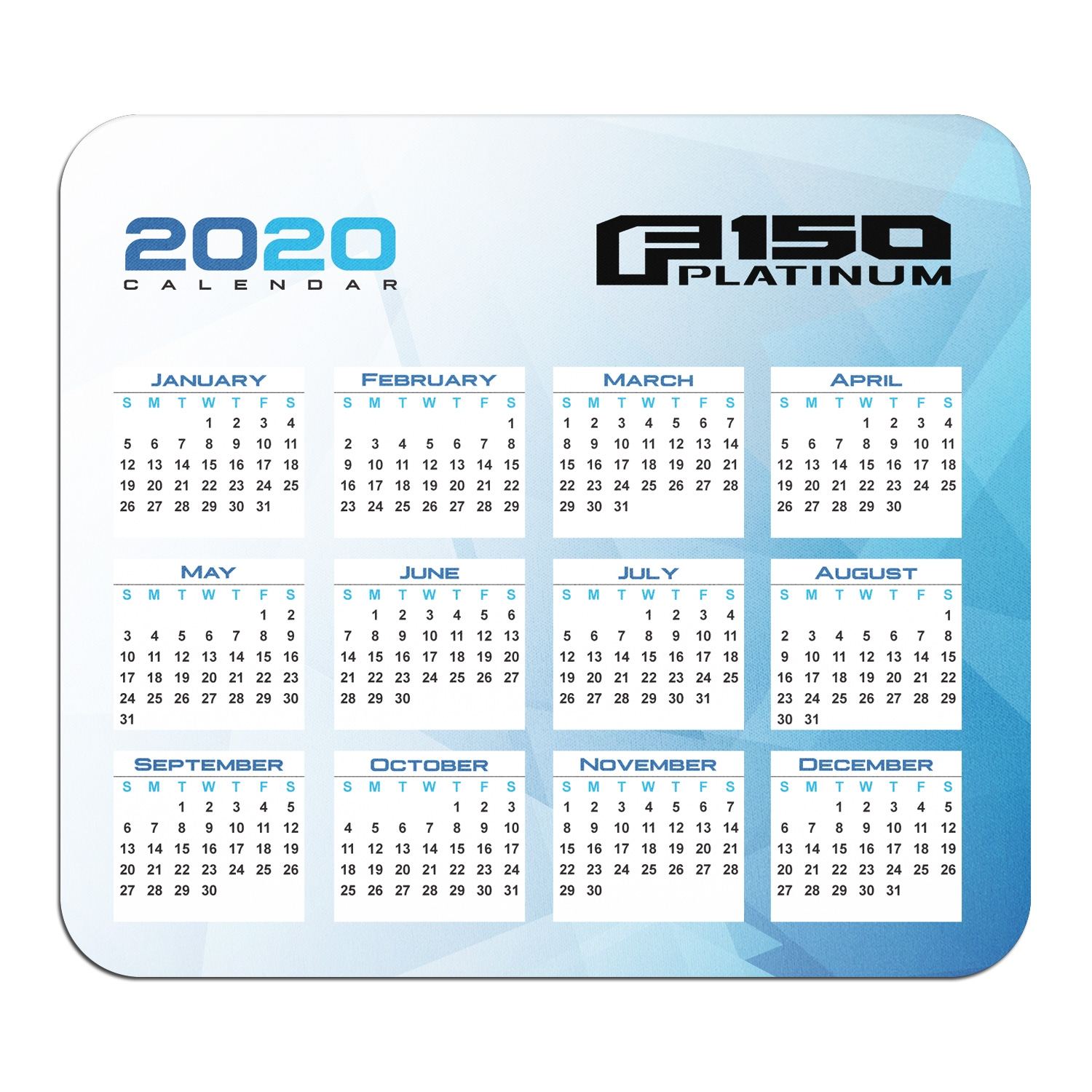Ford Platinum Year Calendar Graphic PC Mouse Pad