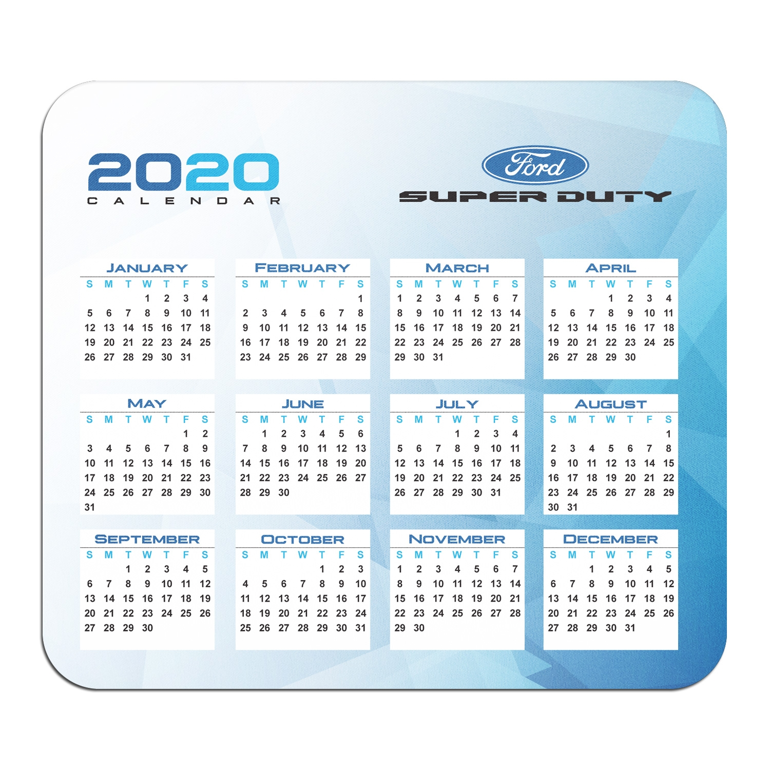 Ford Super-Duty Year Calendar Graphic PC Mouse Pad