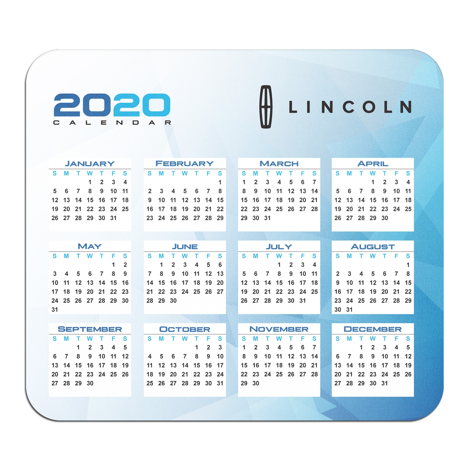 Lincoln Year Calendar Graphic PC Mouse Pad