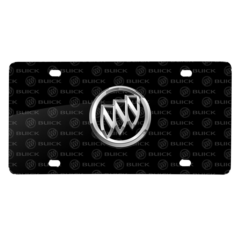 Buick 3D Logo on Logo Pattern Black Aluminum License Plate