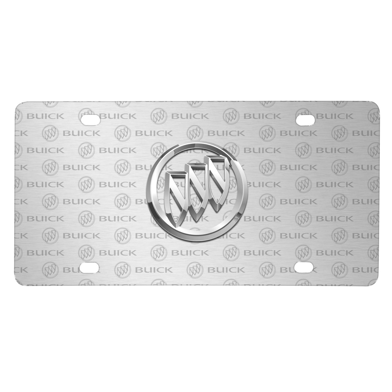 Buick 3D Logo on Logo Pattern Brushed Aluminum License Plate