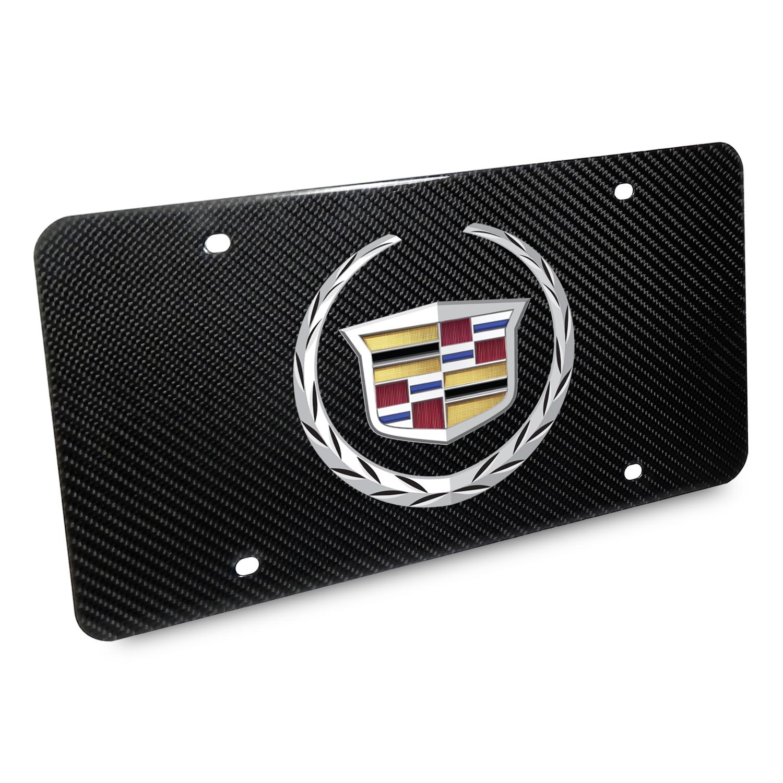 Cadillac 2013 Logo UV Graphic 100% Real Black Carbon Fiber License Plate