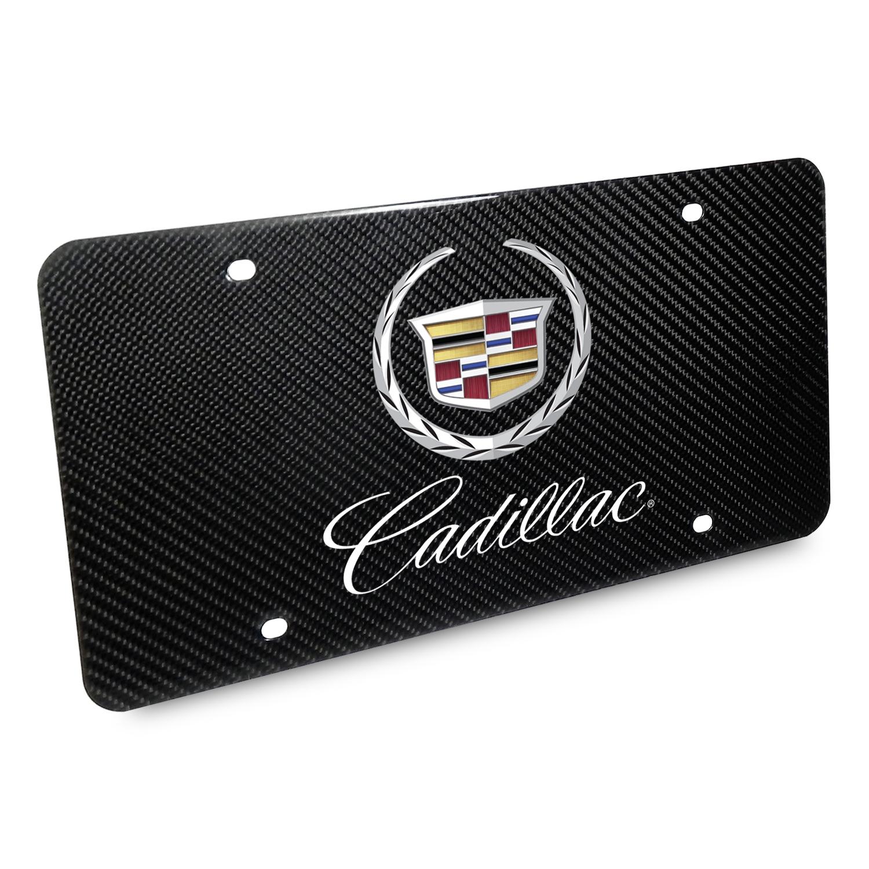 Cadillac 2013 Dual Logo UV Graphic 100% Real Black Carbon Fiber License Plate