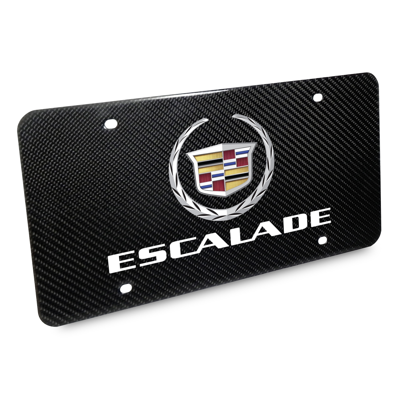 Cadillac Escalade 2007 Logo UV Graphic 100% Real Black Carbon Fiber License Plate