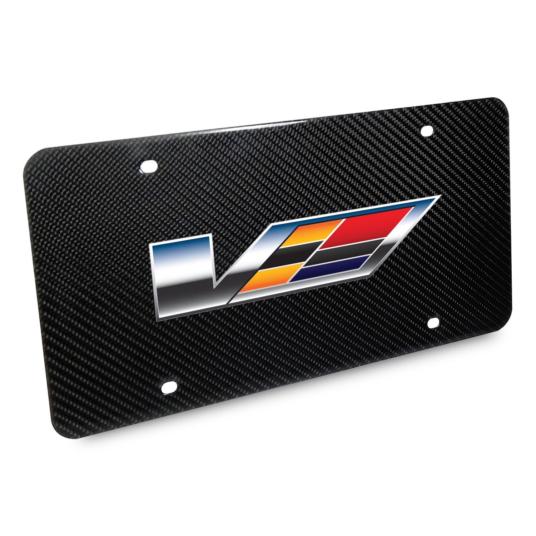 Cadillac V 2007 Logo UV Graphic 100% Real Black Carbon Fiber License Plate