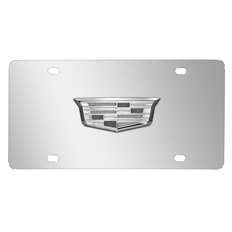 Cadillac Crest 3D Chrome Logo on Chrome Stainless Steel License Plate