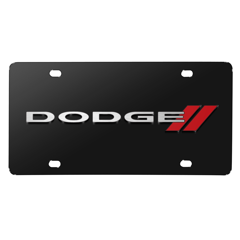 Dodge 3D Logo on Black Stainless Steel License Plate