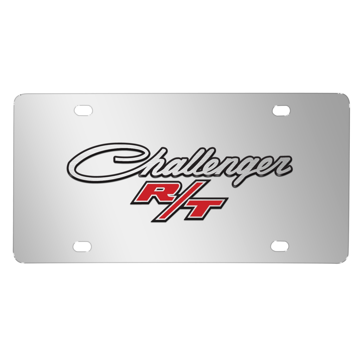 Dodge Challenger R/T Classic 3D Logo on Chrome Stainless Steel License Plate