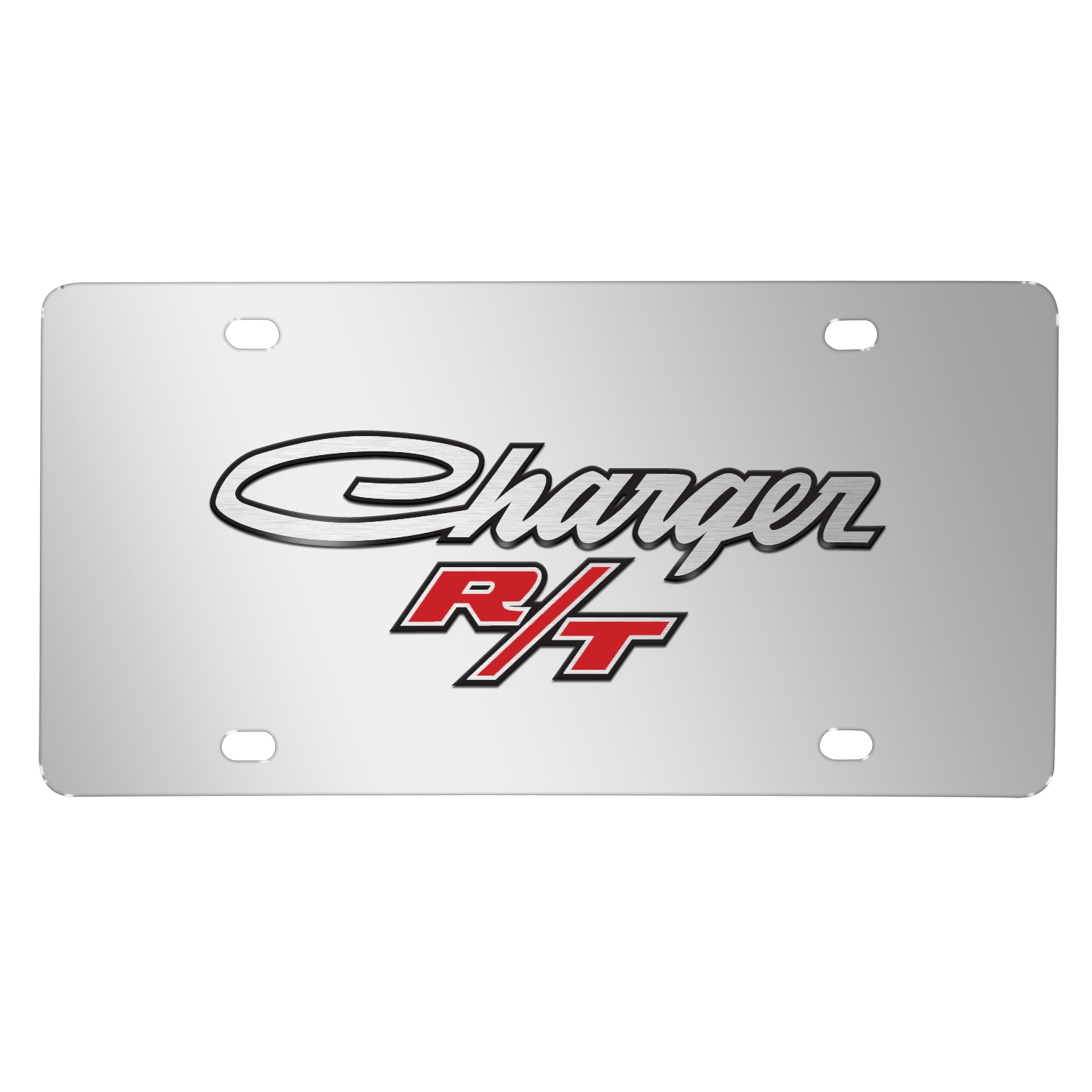 Dodge Charger R/T Classic 3D Logo on Chrome Stainless Steel License Plate