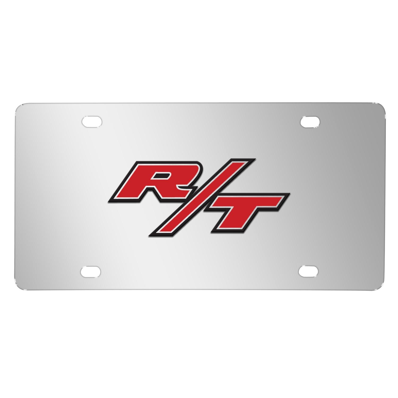 Dodge R/T 3D Logo Logo on Chrome Stainless Steel License Plate