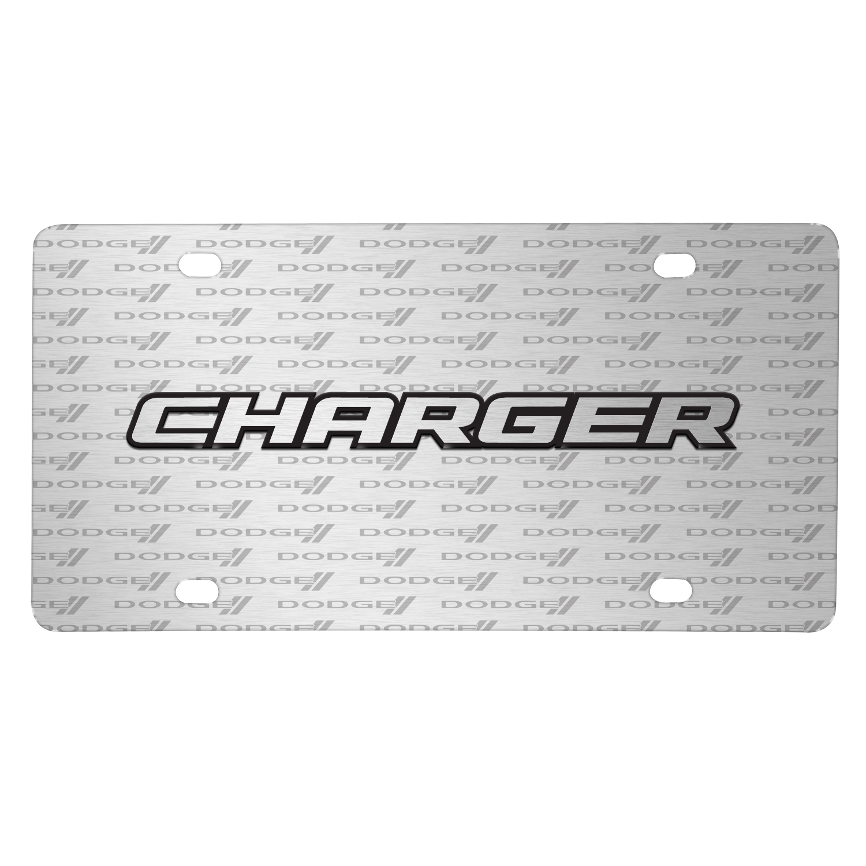 Dodge Charger 3D Logo on Logo Pattern Brushed Aluminum License Plate