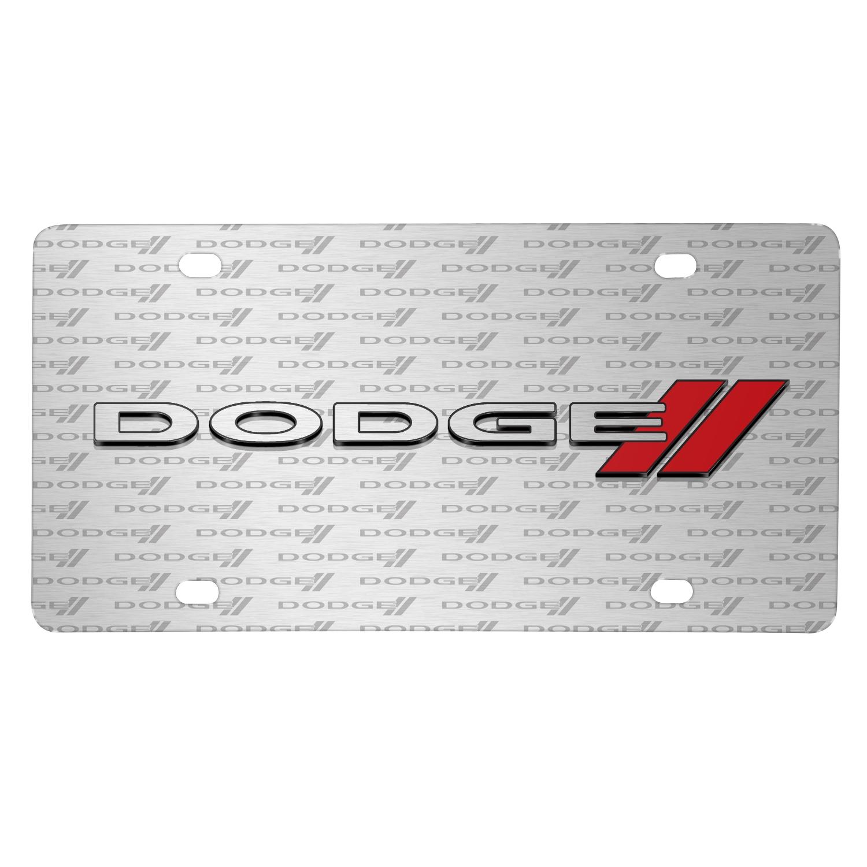 Dodge 3D Logo on Logo Pattern Brushed Aluminum License Plate