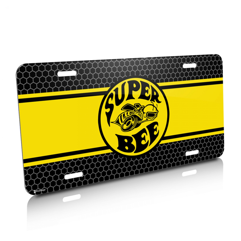 Dodge Super Bee Yellow Stripe Graphic Aluminum License Plate