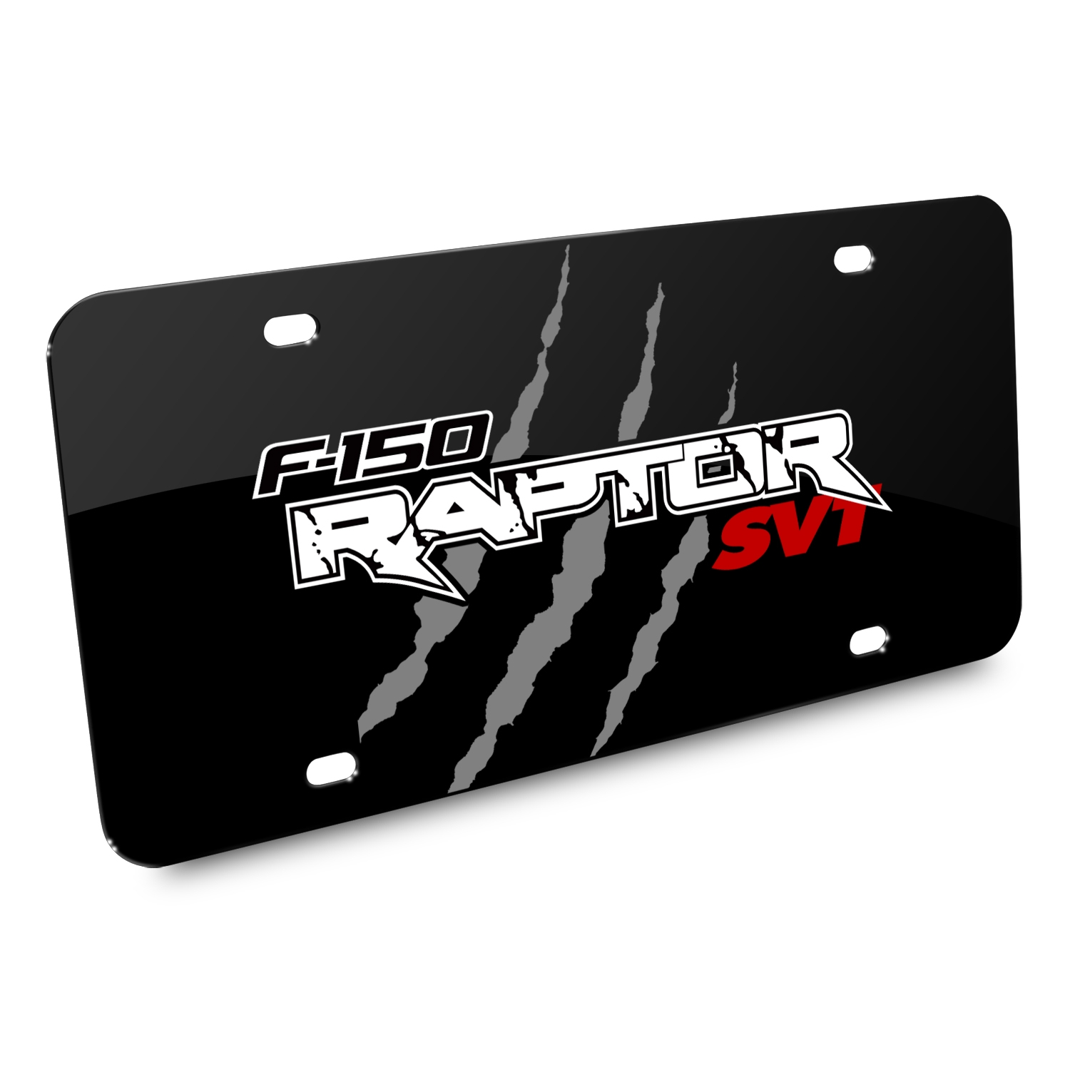 Ford F-150 Raptor SVT Claw Marks Graphic Black Acrylic License Plate