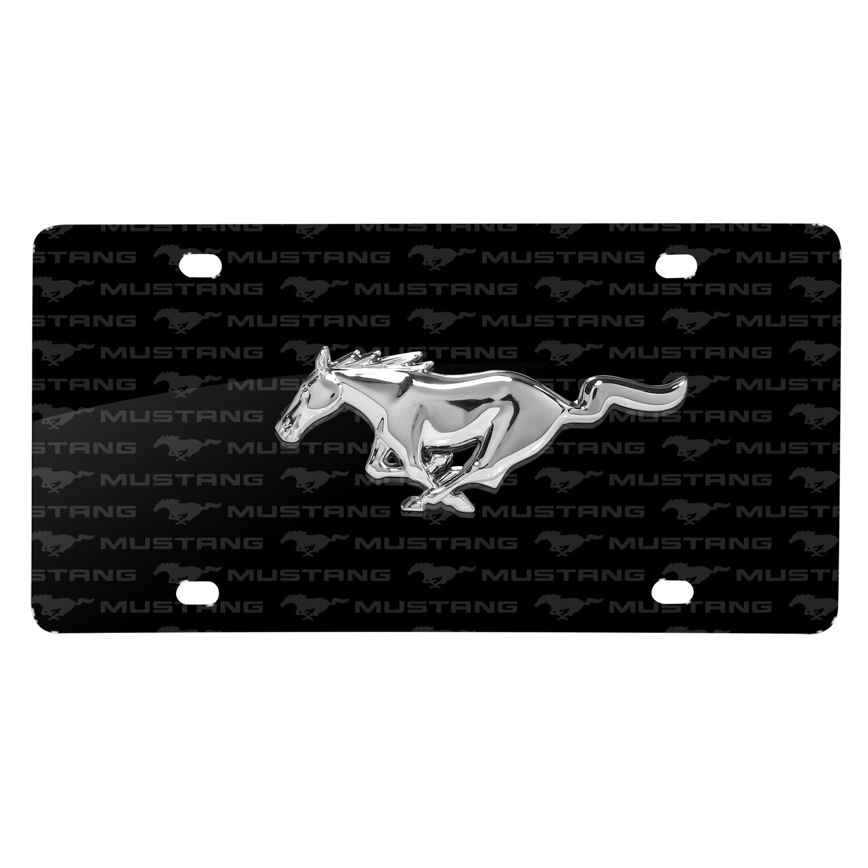 Ford Mustang 3D Chrome Pony Logo on Logo Pattern Black Aluminum License Plate