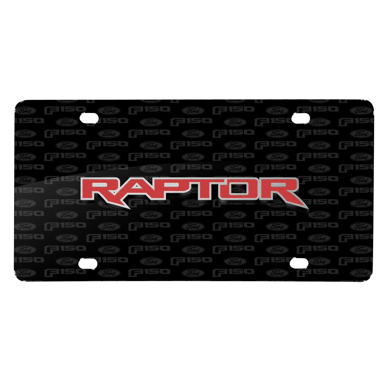 Ford F-150 Raptor in Red 3D Logo on Logo Pattern Black Aluminum License Plate