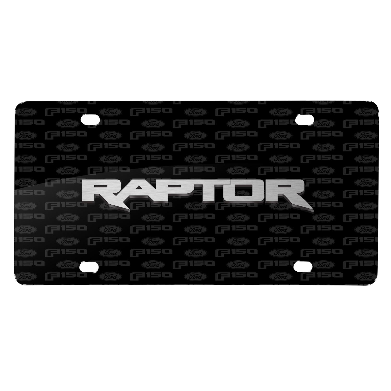 Ford F-150 Raptor 3D Logo on Logo Pattern Black Aluminum License Plate