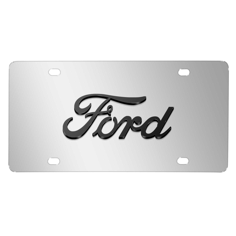 Ford 3D Script Logo on Chrome Stainless Steel License Plate