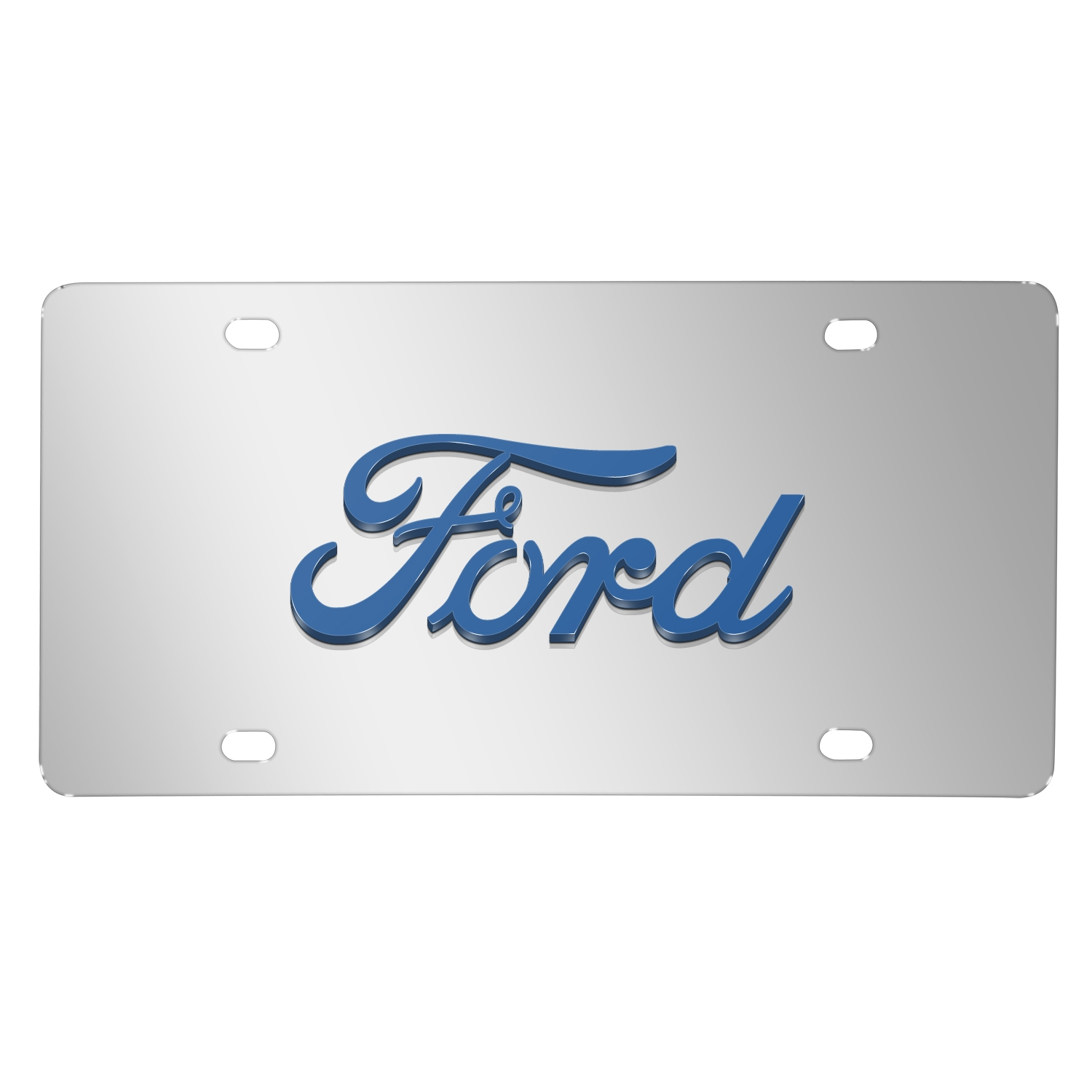 Ford 3D Script Logo in Blue on Chrome Stainless Steel License Plate
