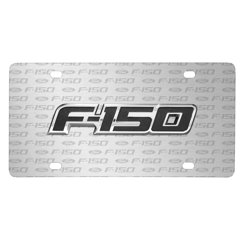 Ford F-150 3D Logo on Logo Pattern Brushed Aluminum License Plate
