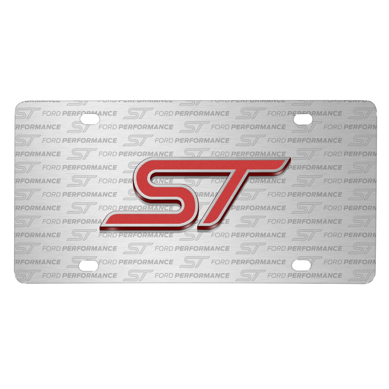Ford Focus ST 3D Logo on Logo Pattern Brushed Aluminum License Plate