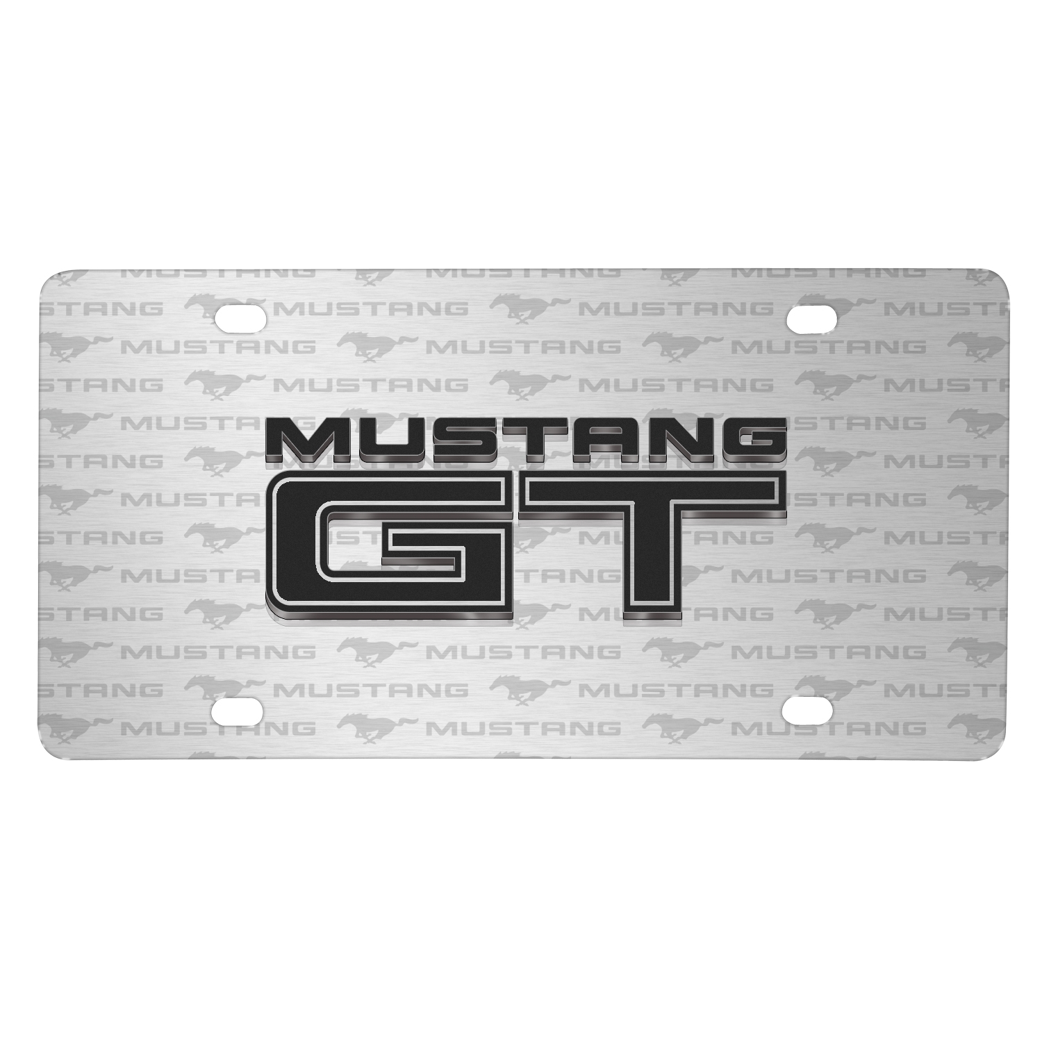Ford Mustang GT 3D Logo on Logo Pattern Brushed Aluminum License Plate