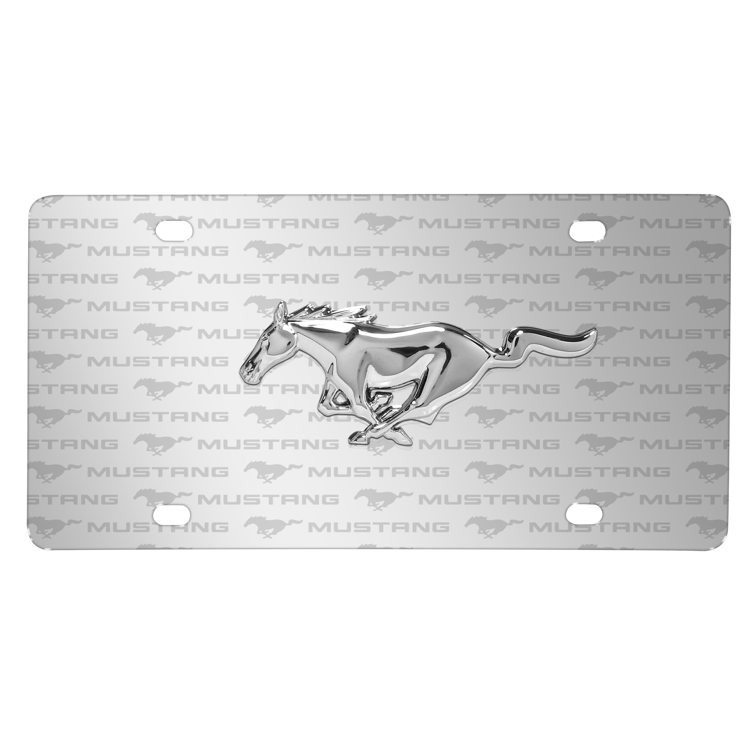 Ford Mustang 3D Chrome Pony Logo on Logo Pattern Brushed Aluminum License Plate