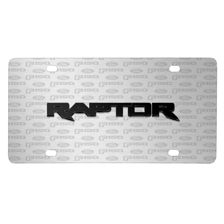 Ford F-150 Raptor 3D Logo on Logo Pattern Brushed Aluminum License Plate
