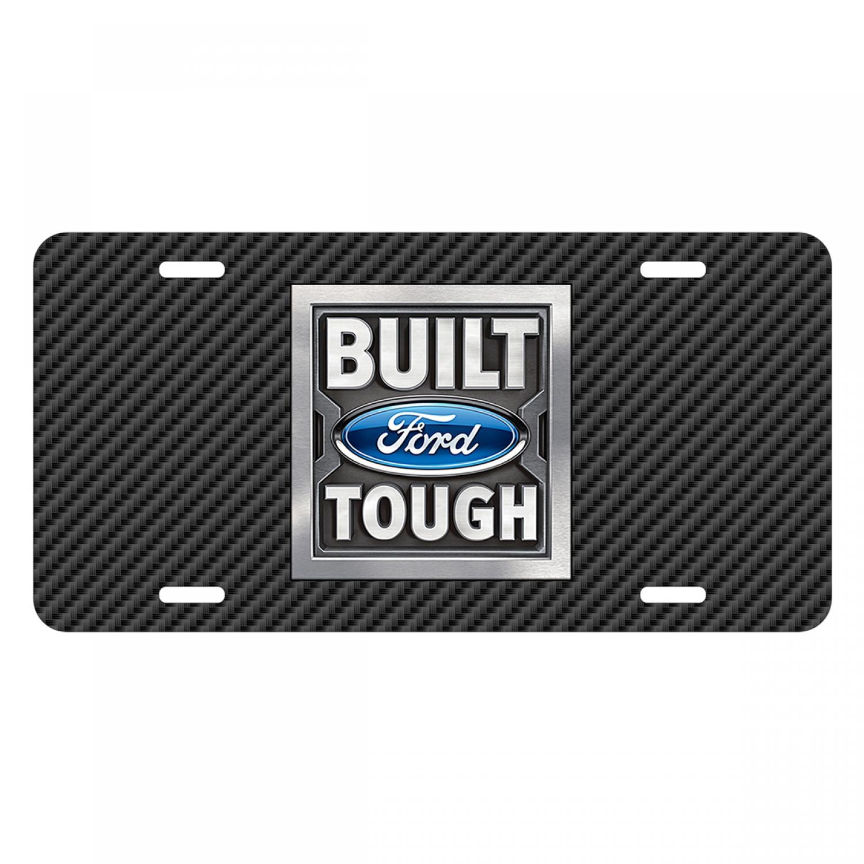 Ford Built Ford Tough Black Carbon Fiber Texture Graphic UV Metal License Plate