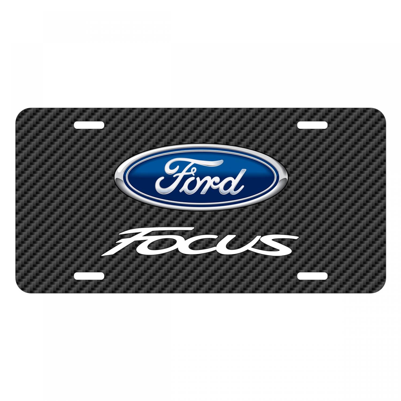Ford Focus Black Carbon Fiber Texture Graphic UV Metal License Plate
