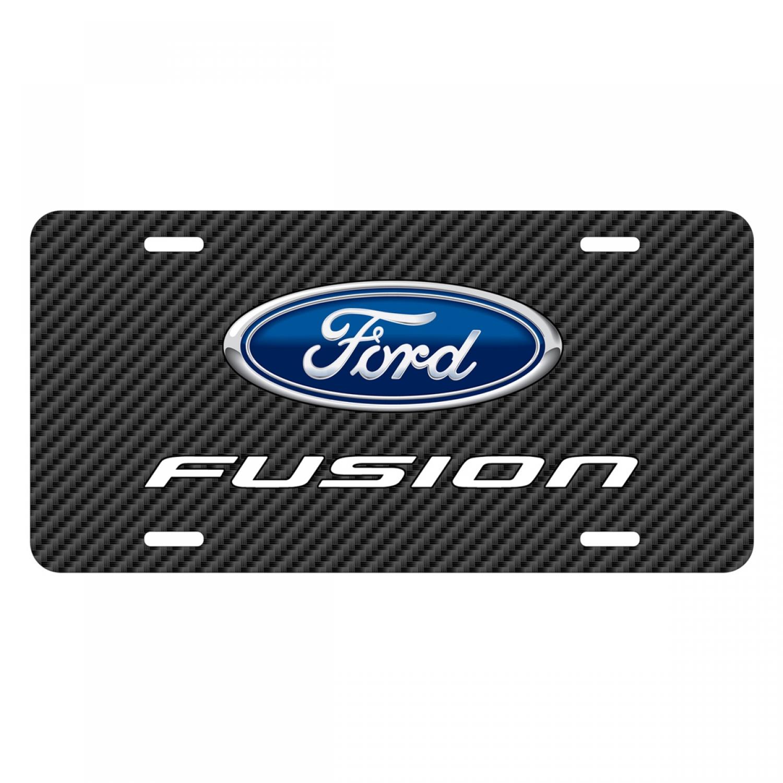 Ford Fusion Black Carbon Fiber Texture Graphic UV Metal License Plate
