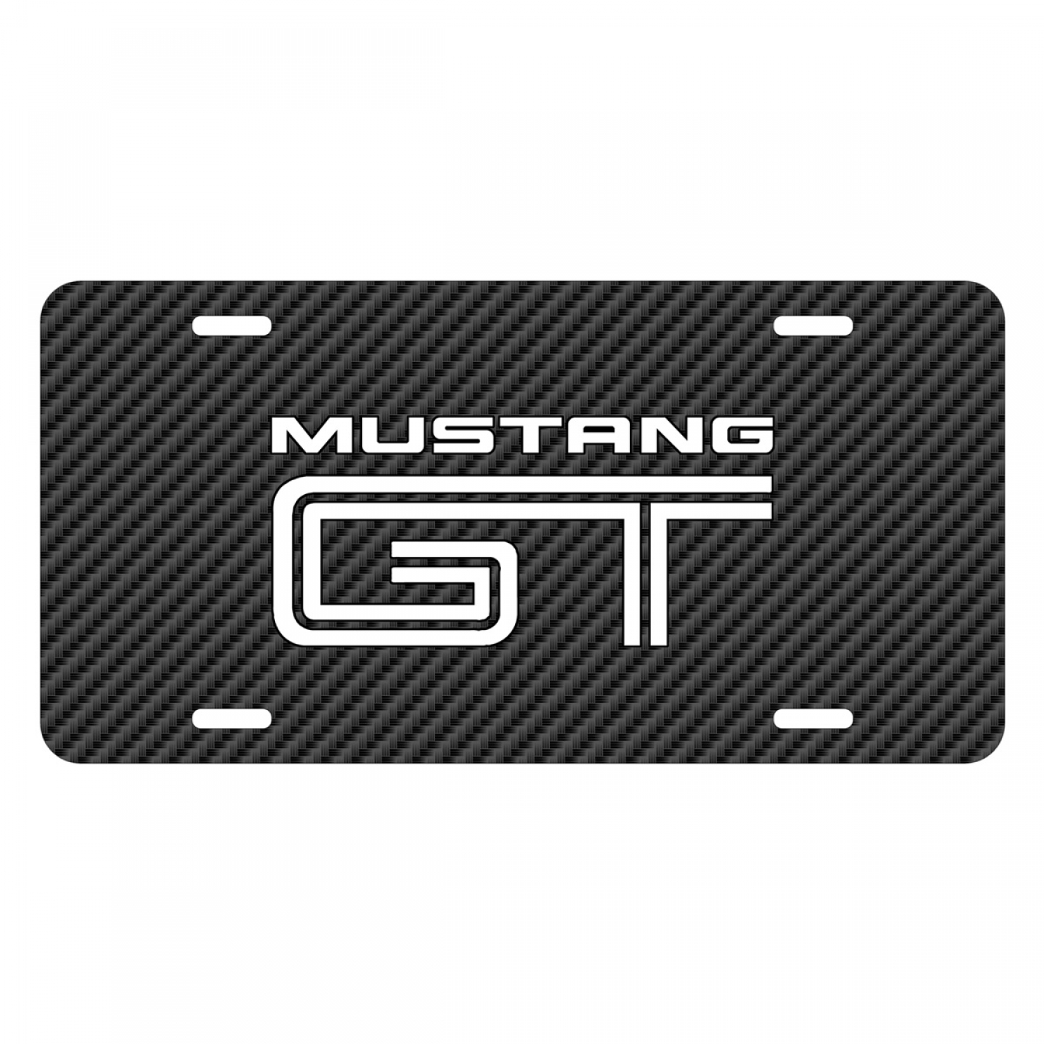 Ford Mustang GT Black Carbon Fiber Texture Graphic UV Metal License Plate
