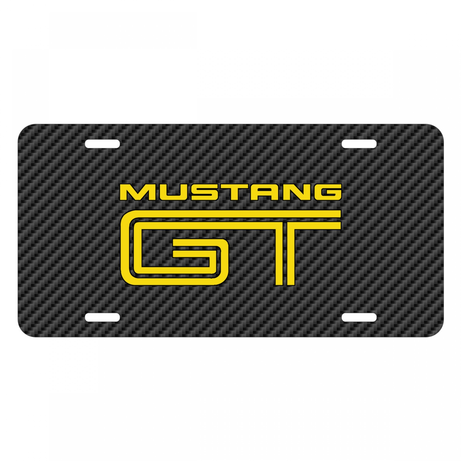Ford Mustang GT in Yellow Black Carbon Fiber Texture Graphic UV Metal License Plate