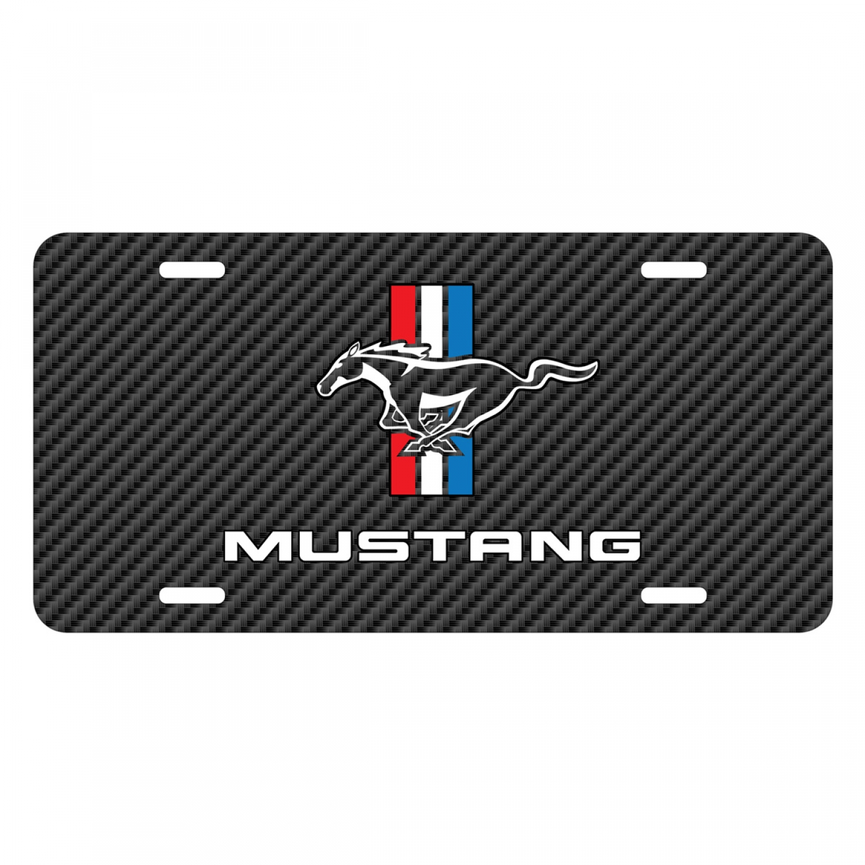 Ford Mustang Tri-Bar Logo Black Carbon Fiber Texture Graphic UV Metal License Plate